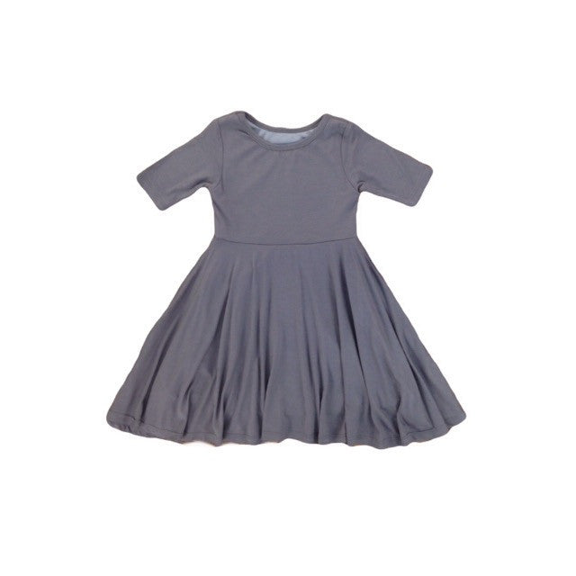 Girls Gray Twirl Dress | Liberty Lark