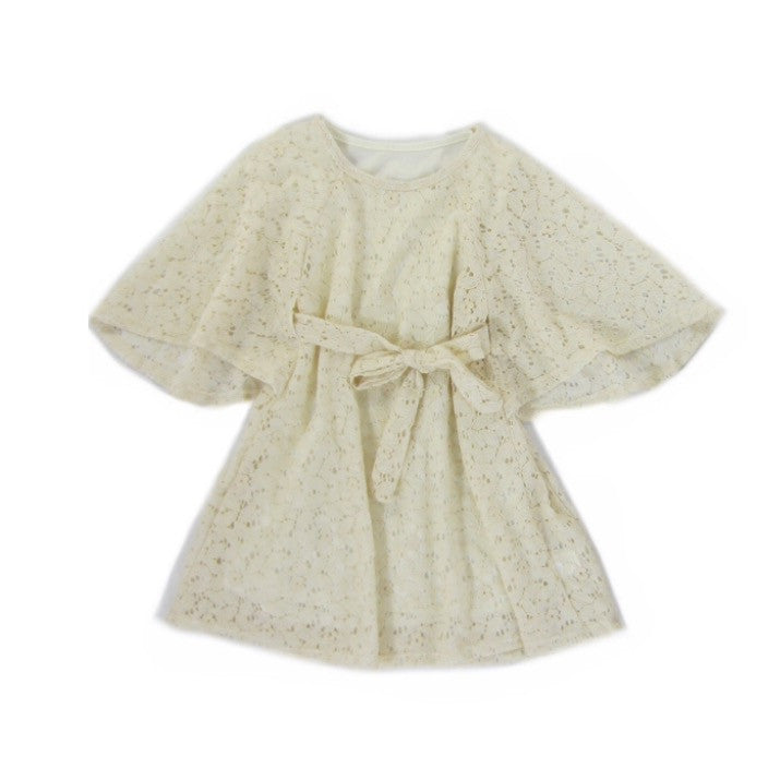 Girls Ivory Lace Boho Dress