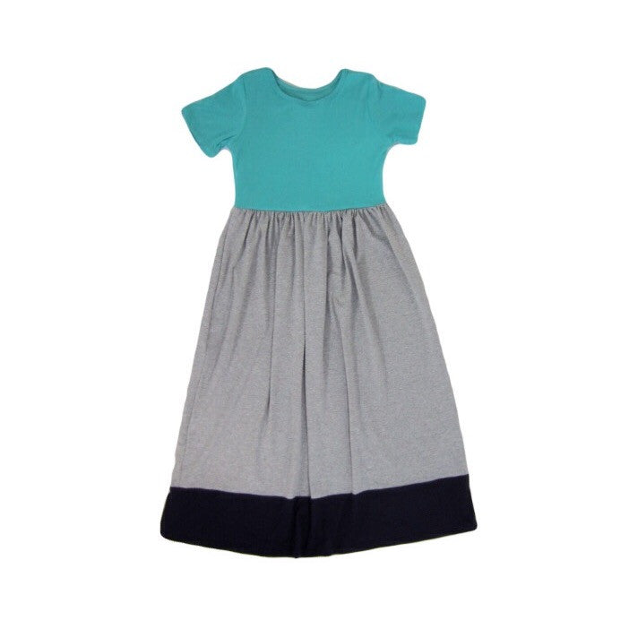Girls Mint Colorblock Maxi Dress