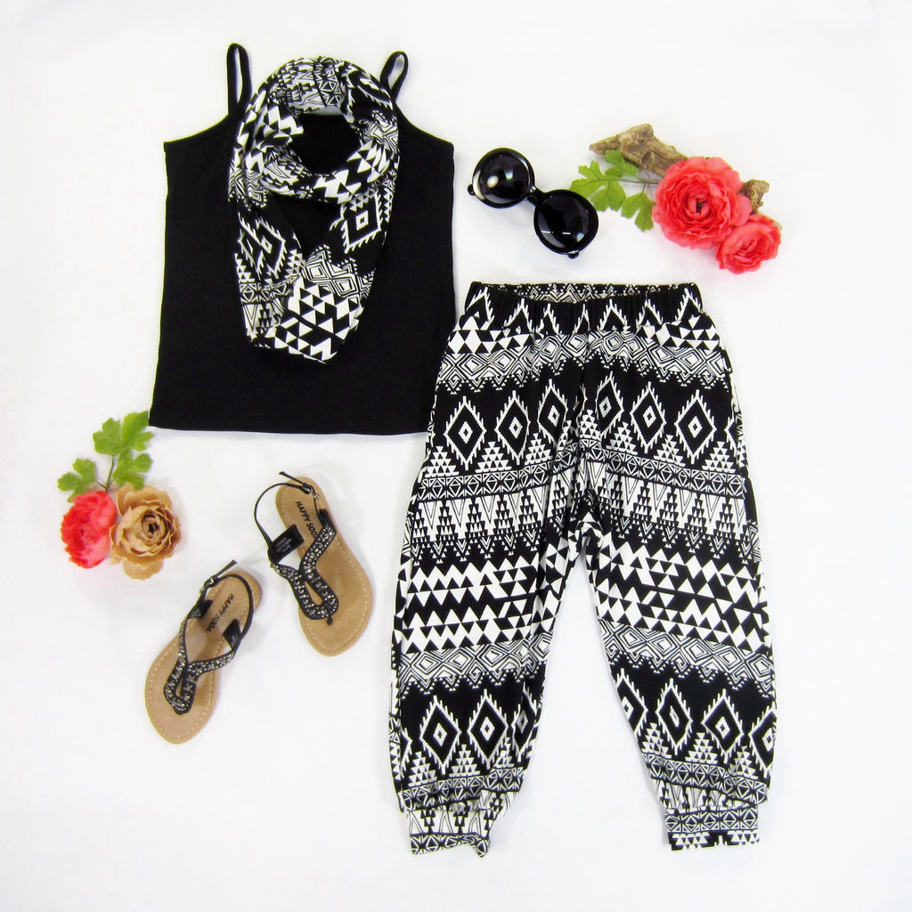 Girls Tribal Print Harem Pants and Infinity Scarf Set - Liberty Lark
