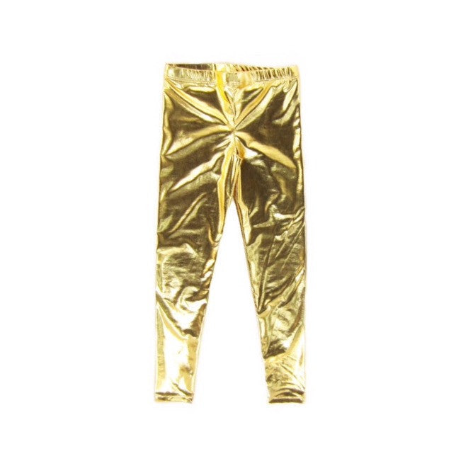 Girls Gold Metallic Leggings