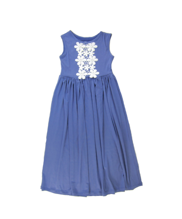Girls Violet Sleeveless Dress