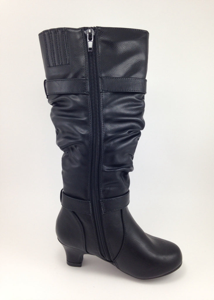 Girls Tall Black Slouchy Heel Boots