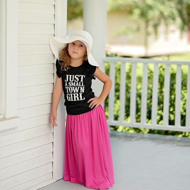 Girls Pink Maxi Skirt