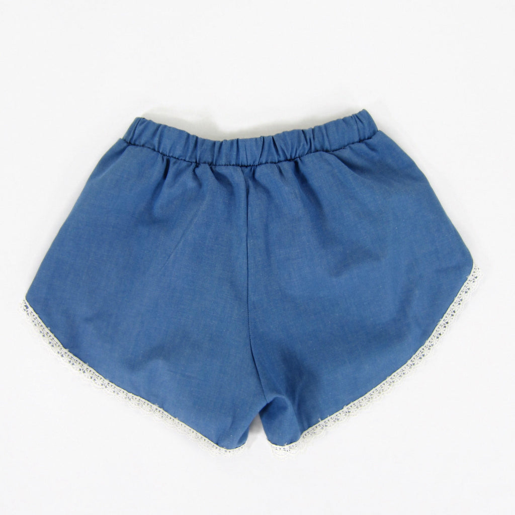 Girls Lace Trim Blue Chambray Shorts
