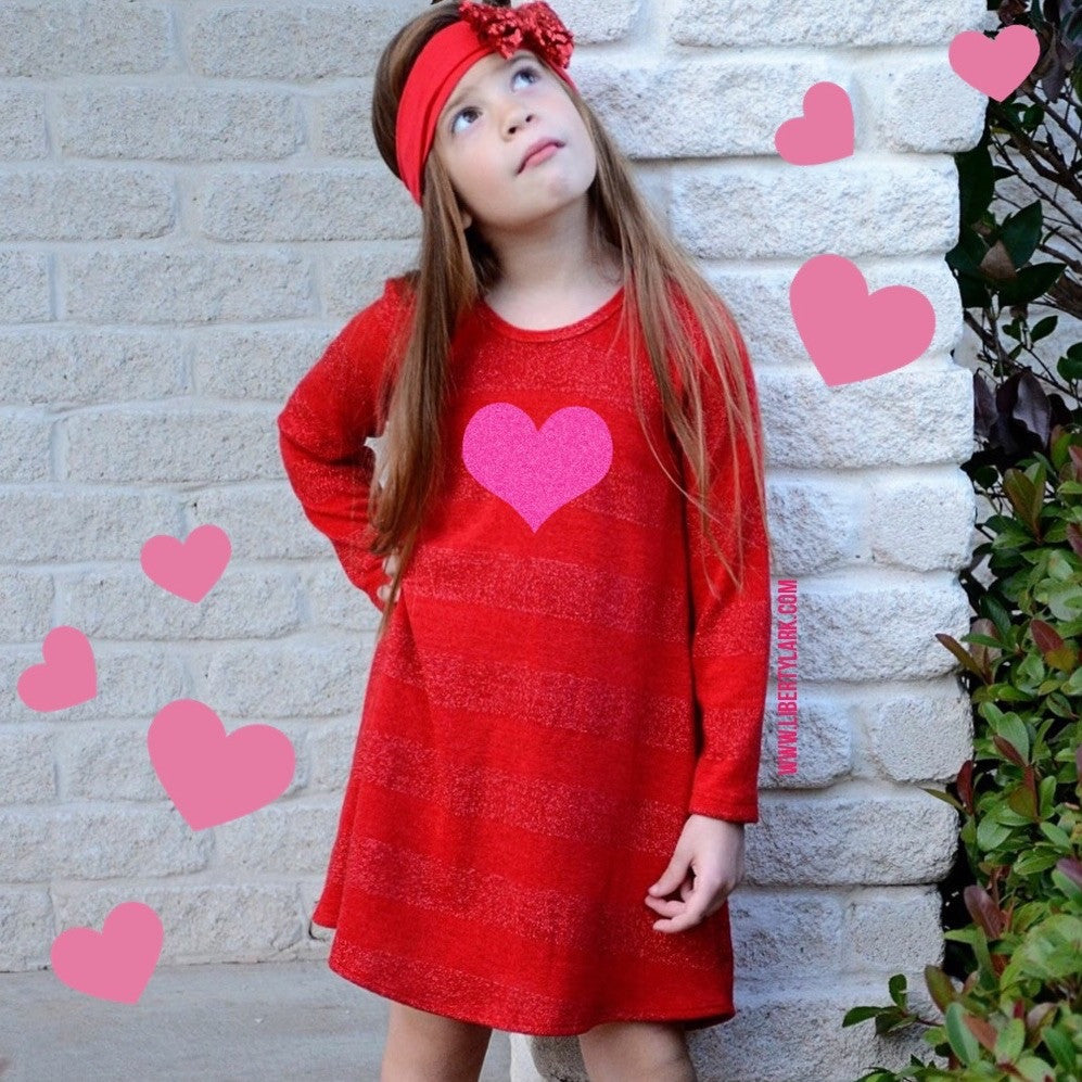 Girls Red Shimmer Heart Dress