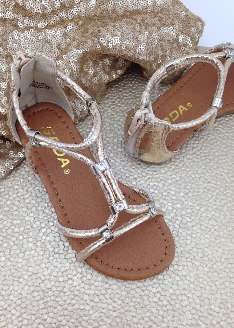 Girls Gold Gladiator Sandals