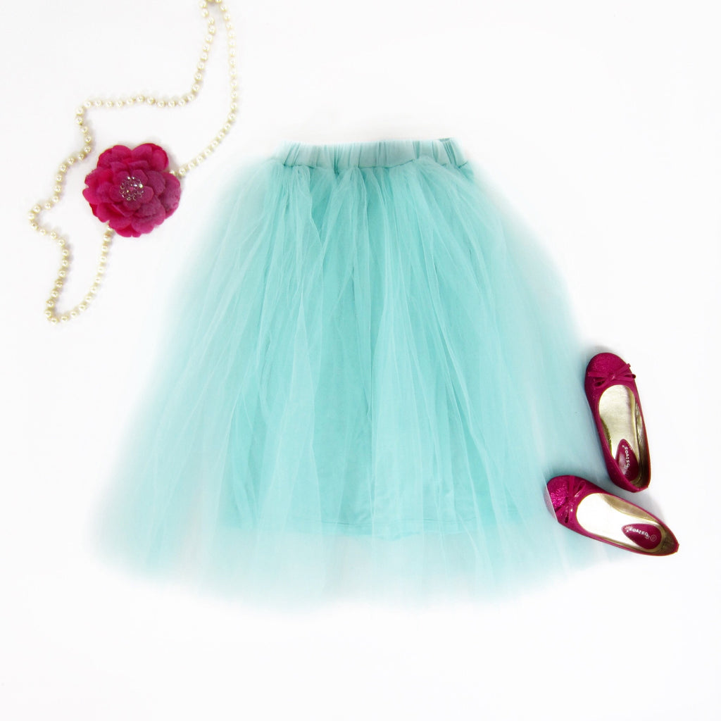 Girls Teal Tulle Midi Skirt