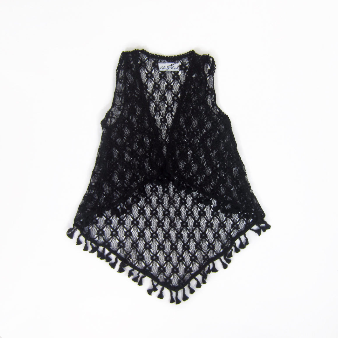 Girls Black Lace Duster Vest