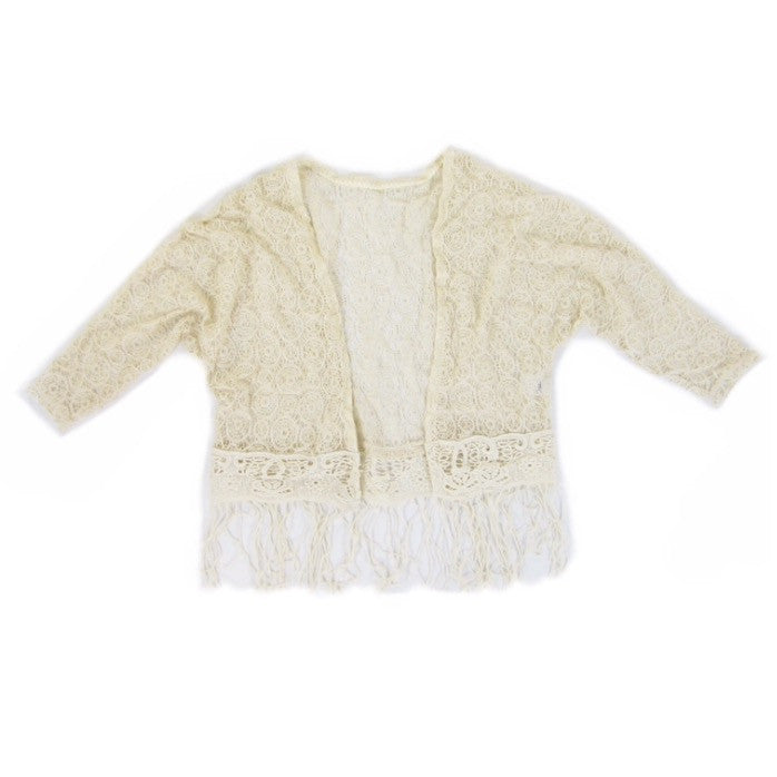 Girls Crochet Fringe Cardigan - Liberty Lark LLC