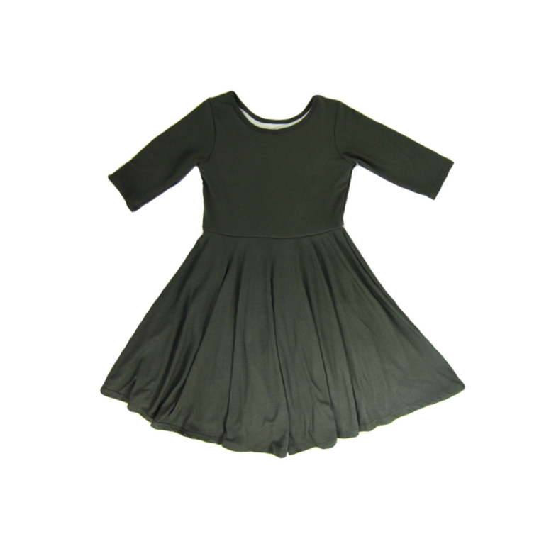 Girls Olive Green Twirl Dress