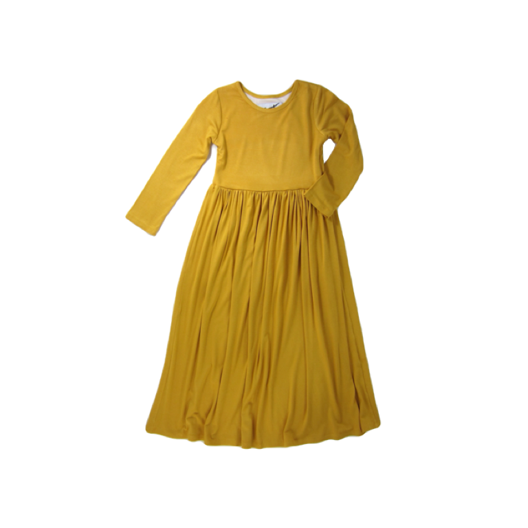 Girls Mustard Maxi Dress