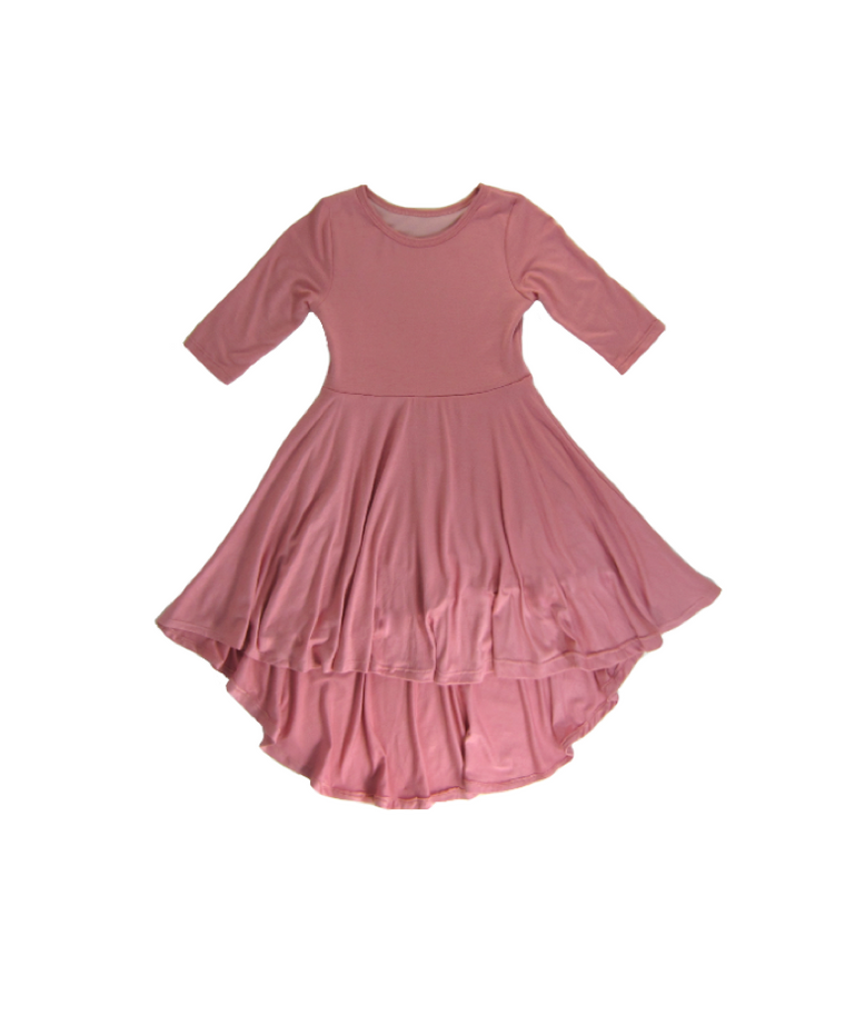 Girls Dusty Rose Hi-Low Dress