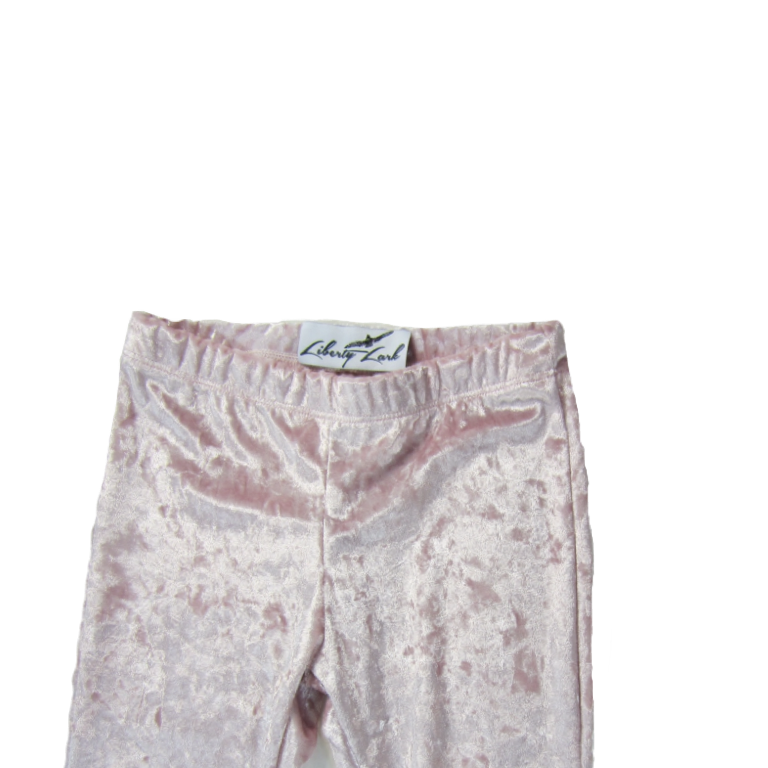 Girls Frosted Pink Velvet Bell Bottoms - Pants