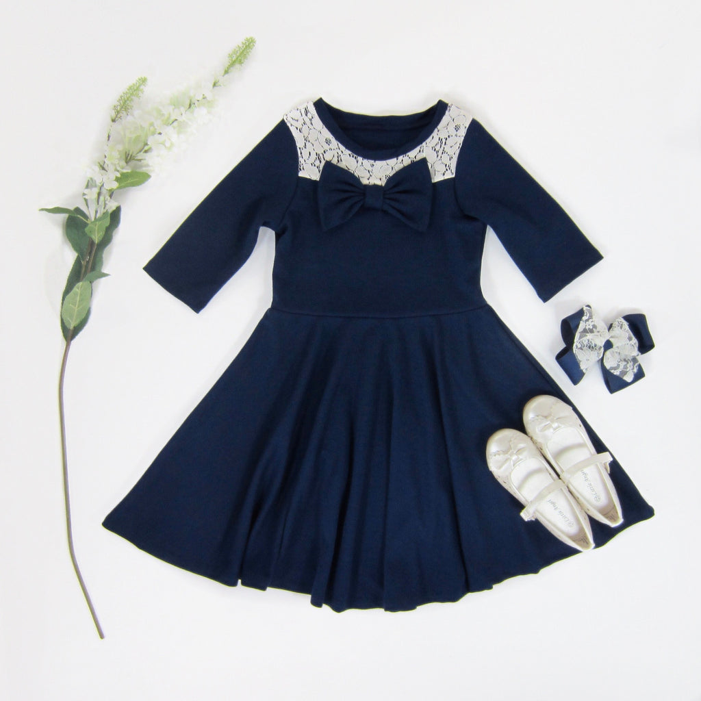 Girls Navy Blue Bow Dress