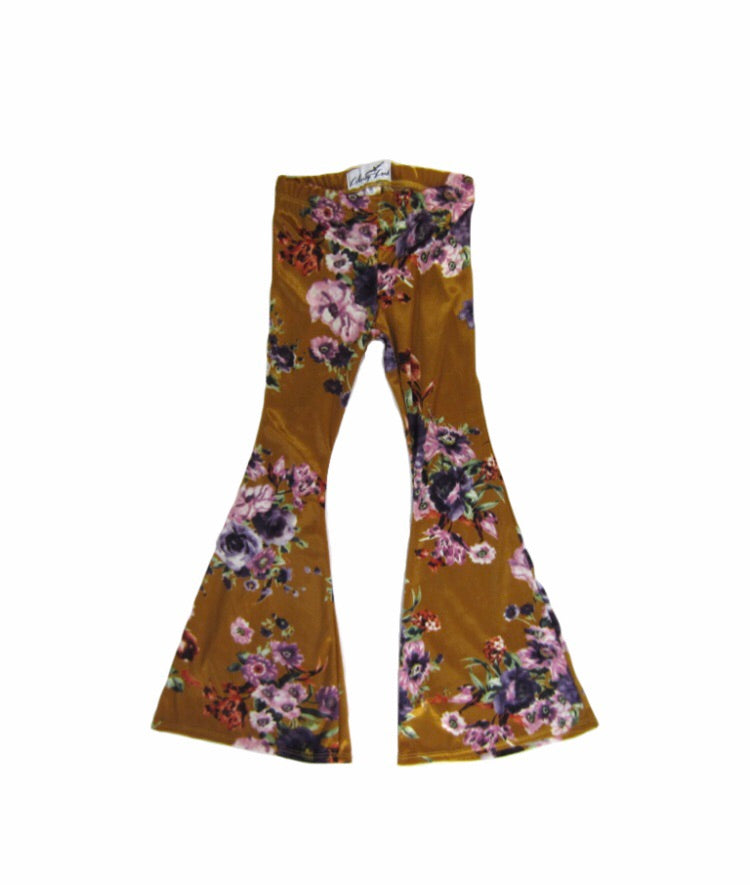 Girls Mustard Floral Velvet Bell Bottoms - Pants