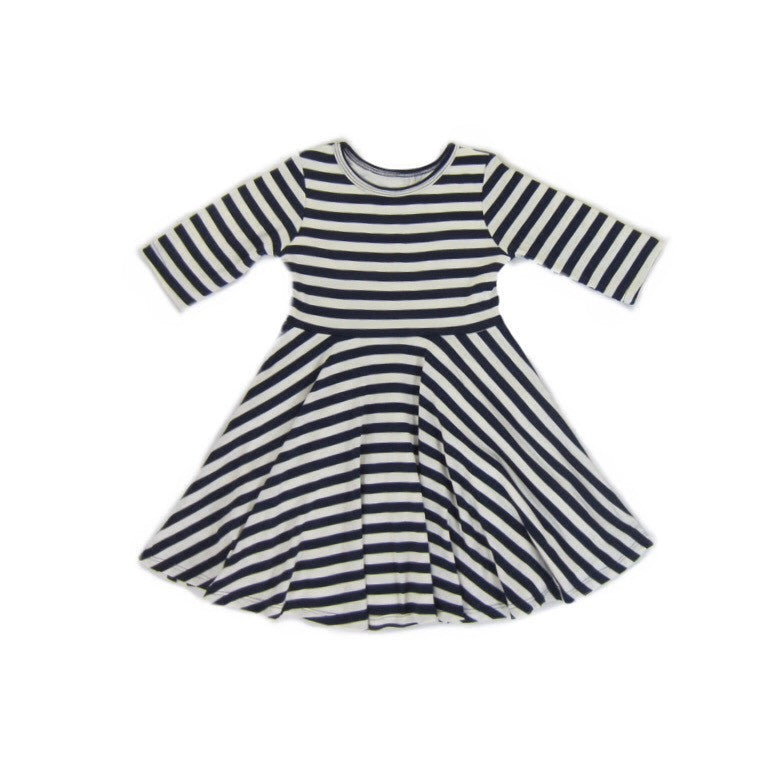 Girls Navy Striped Dress