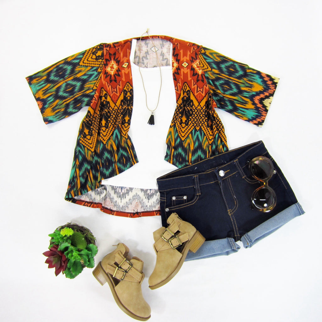Girls Tribal Print Kimono Top - Liberty Lark