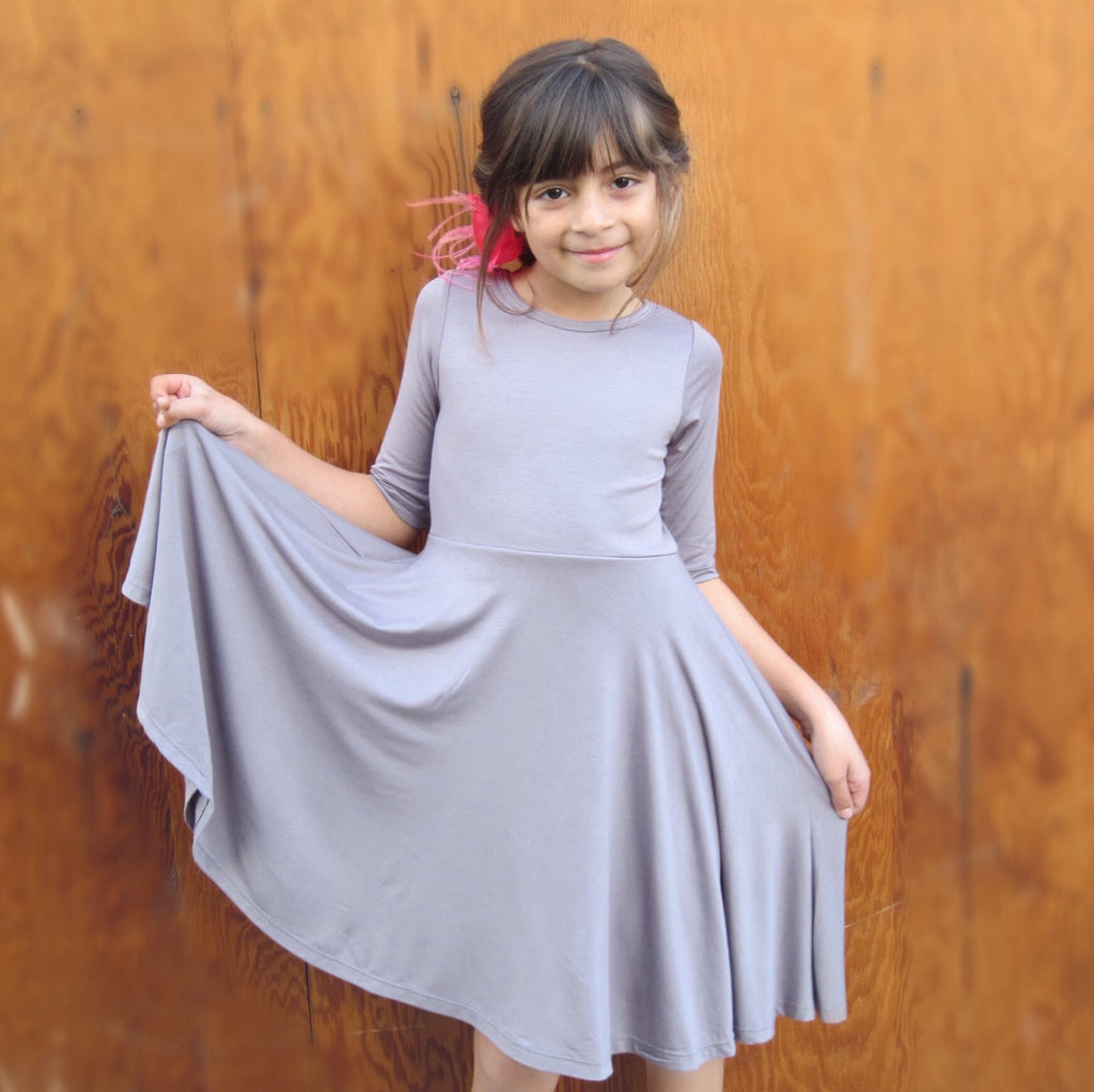 Girls Gray Twirl Dress