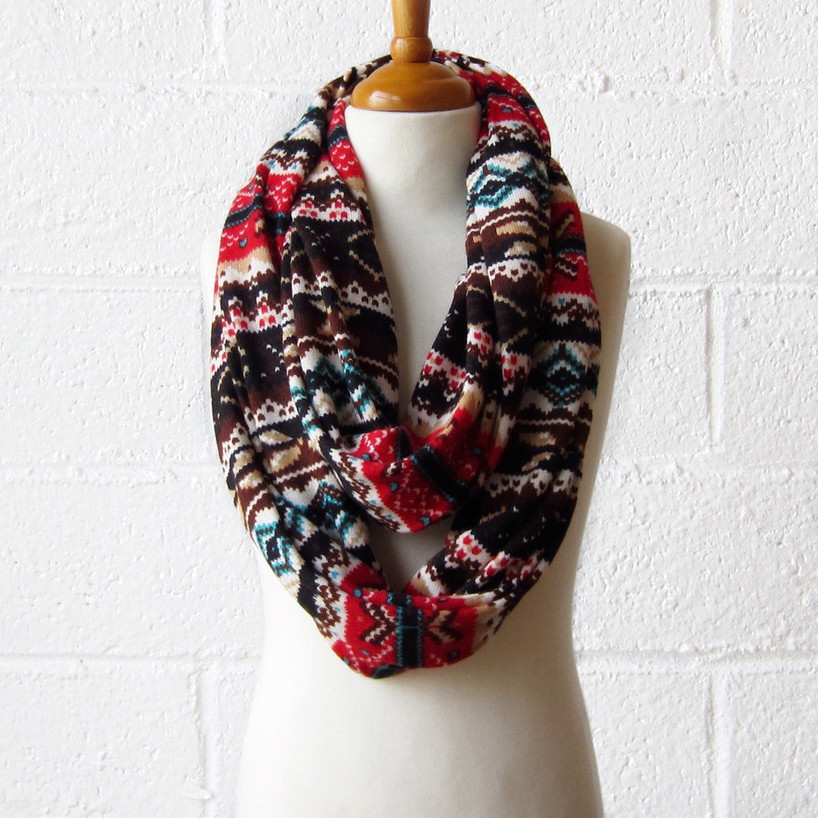 Red Fair Isle Infinity Scarf
