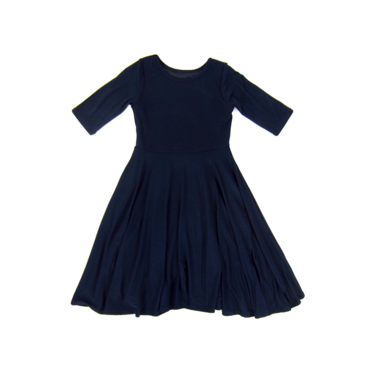 Girls Navy Blue Twirl Dress
