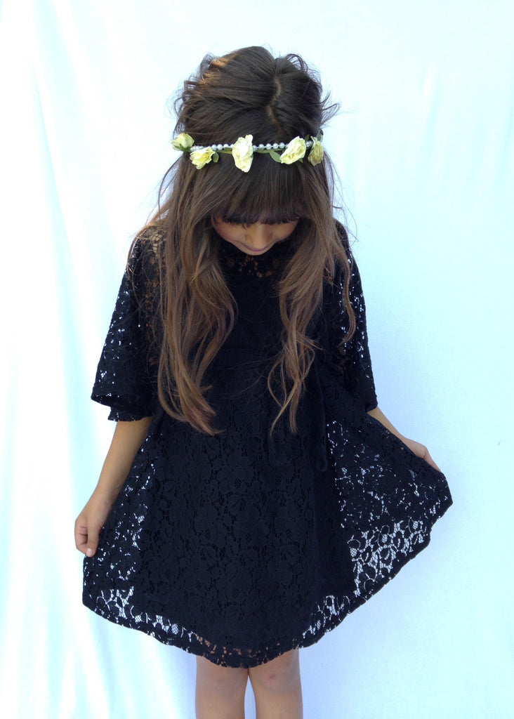Girls Black Lace Kimono Dress