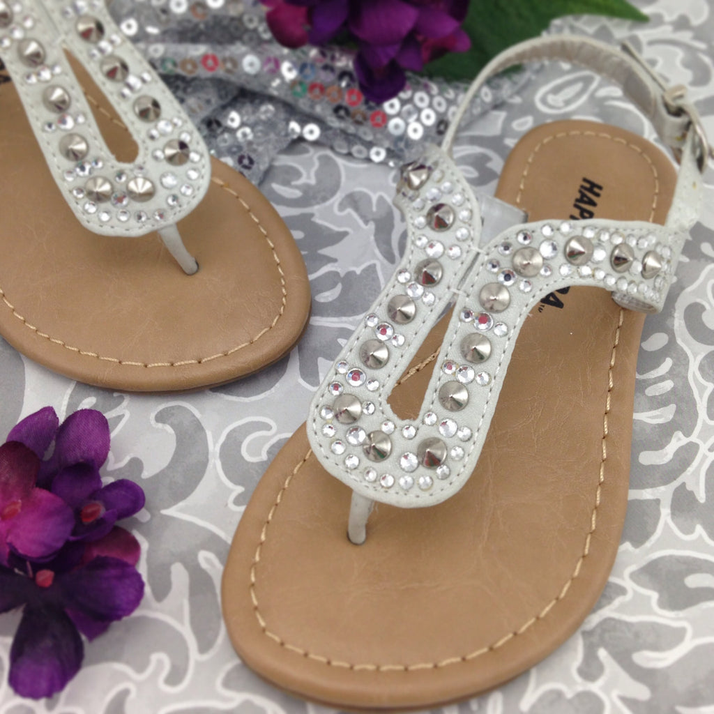 Girls Silver Studded Sandals