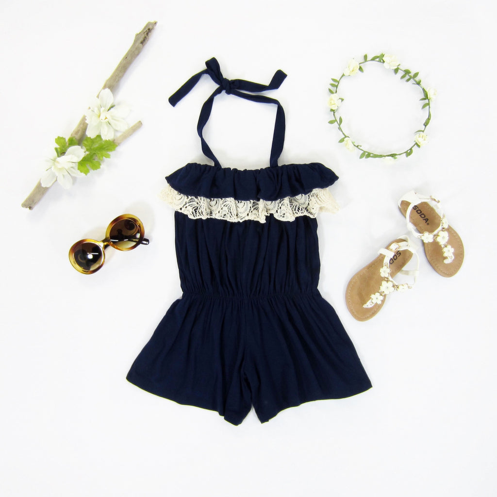 Girls Navy Ruffle Romper