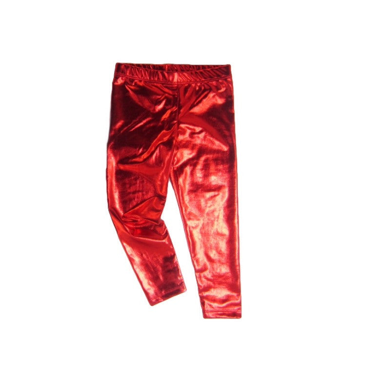 Girls Red Metallic Leggings