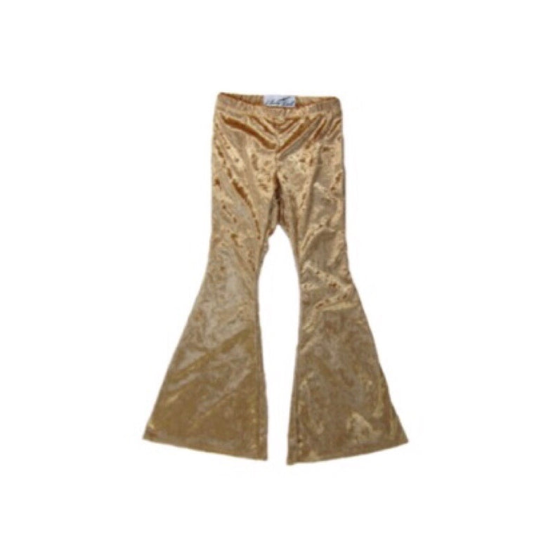 Girls Caramel Velvet Bell Bottoms - Pants