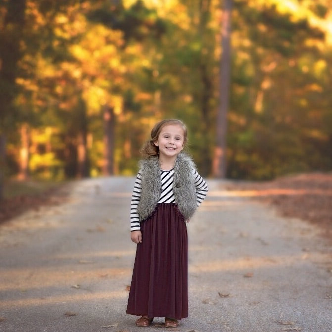 Girls Burgundy Striped Maxi Dress