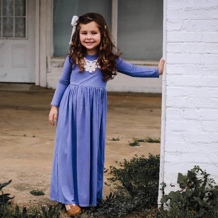 Girls Violet Maxi Dress with Appliqué