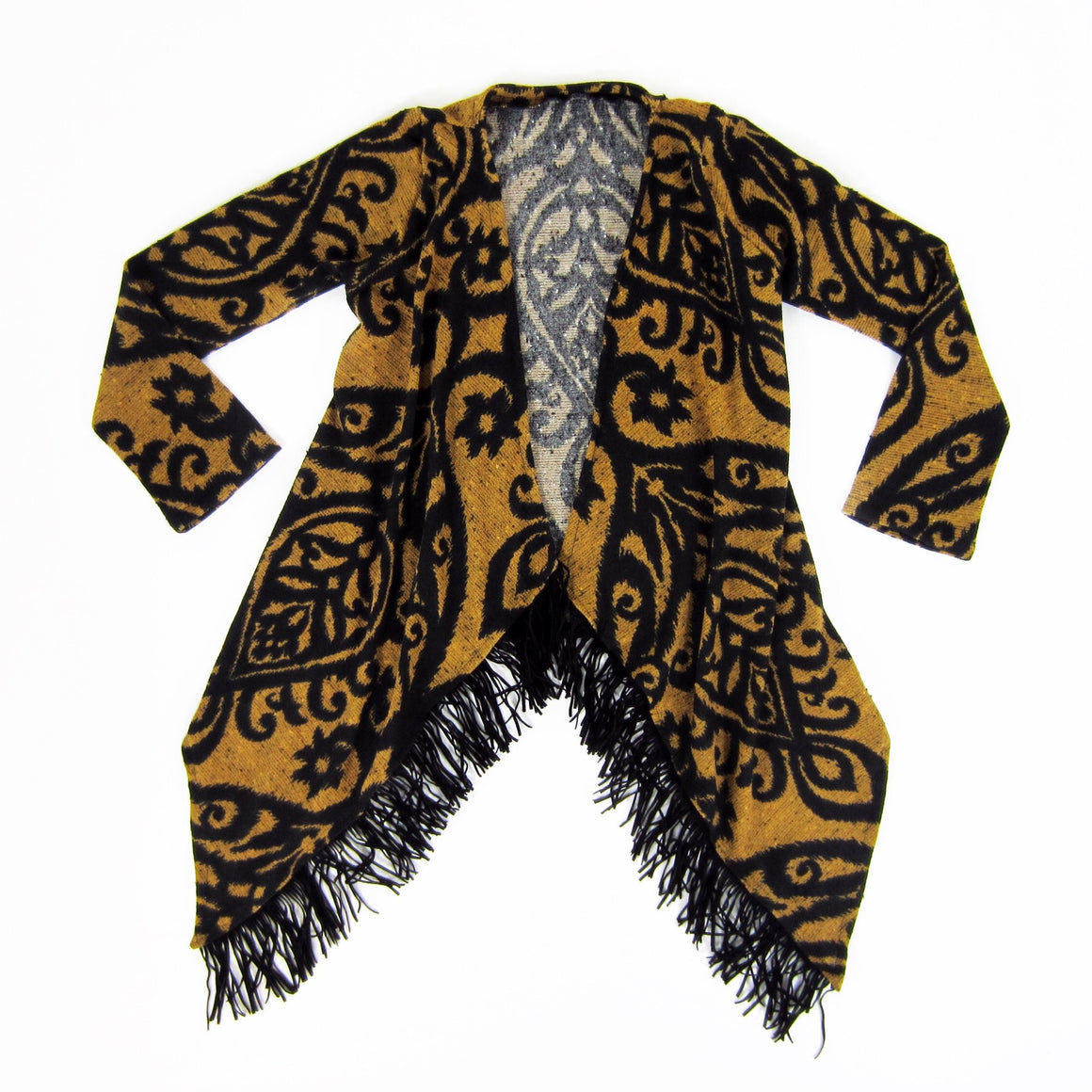 Girls Mustard Fringe Cardigan - Liberty Lark