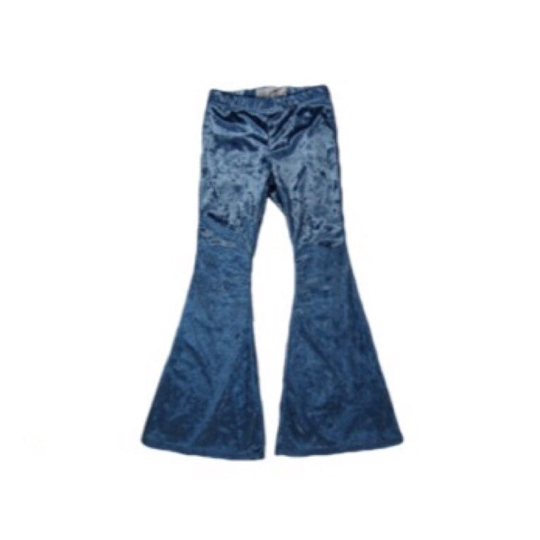 Girls Blue Velvet Bell Bottoms - Pants
