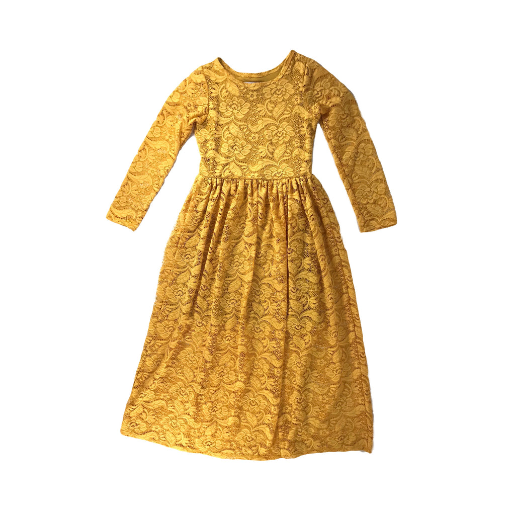 Girls Mustard Lace Maxi Dress