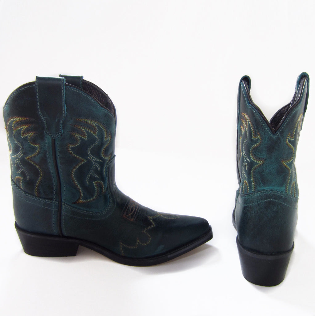 Girls Green Short Western Boots