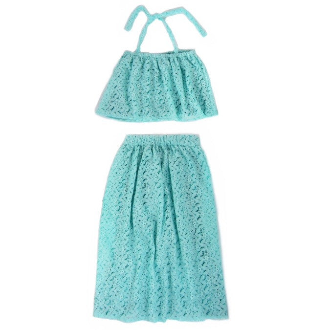 Girls Teal Lace Flounce Top & Maxi Skirt Set