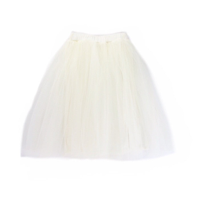 Girls Cream Tulle Skirt