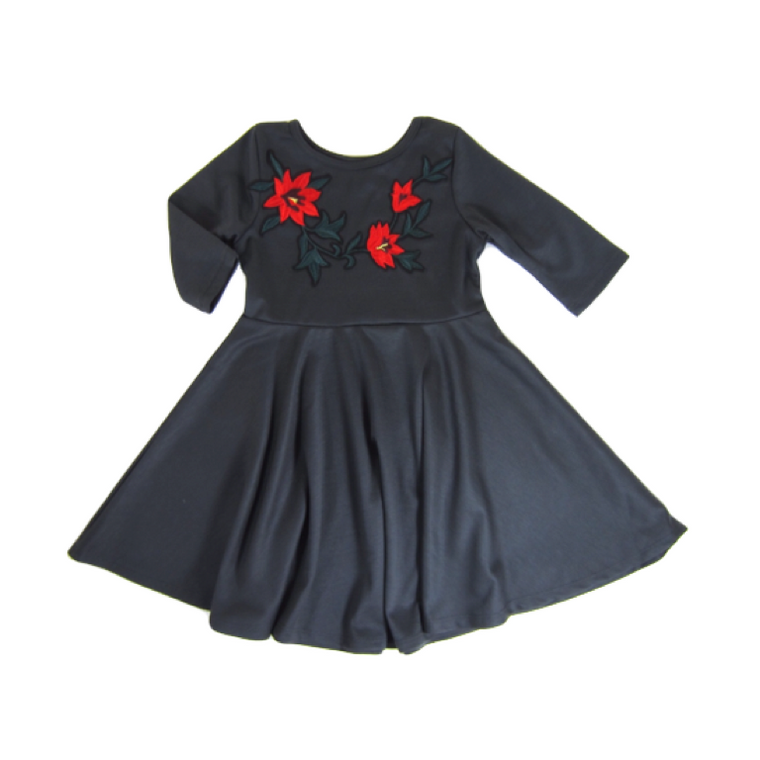 Girls Embroidered Gray Dress