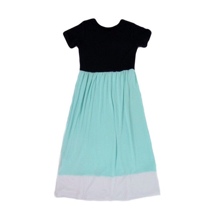 Girls Navy Colorblock Maxi Dress