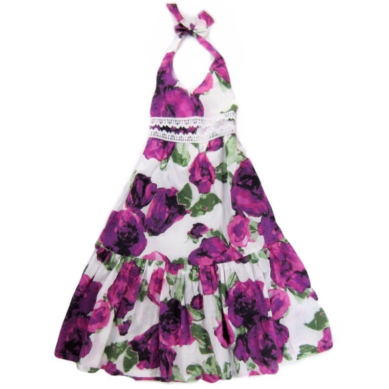 Girls Purple Floral Maxi Dress