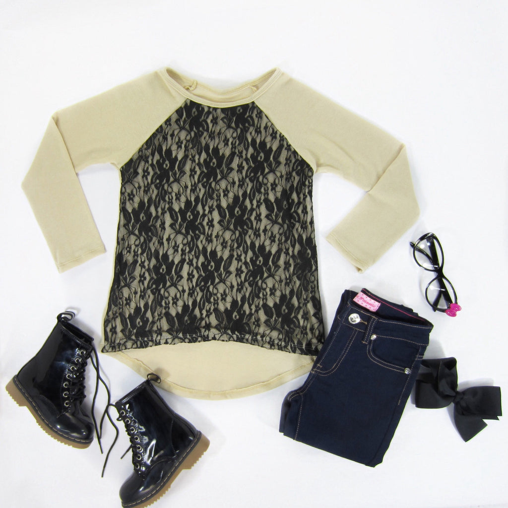 Girls Taupe Lace Overlay Sweater