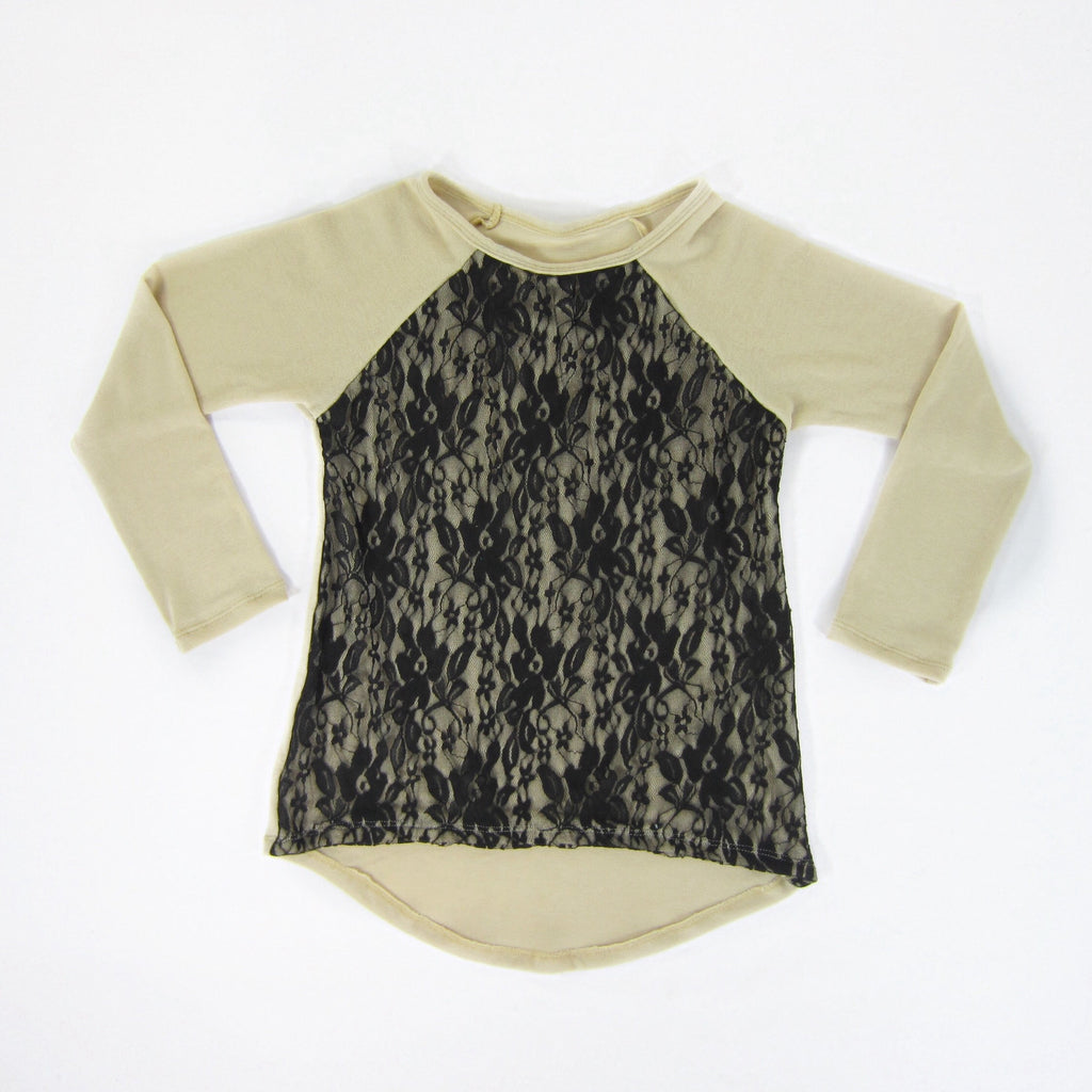 Girls Taupe Lace Overlay Sweater - Liberty Lark