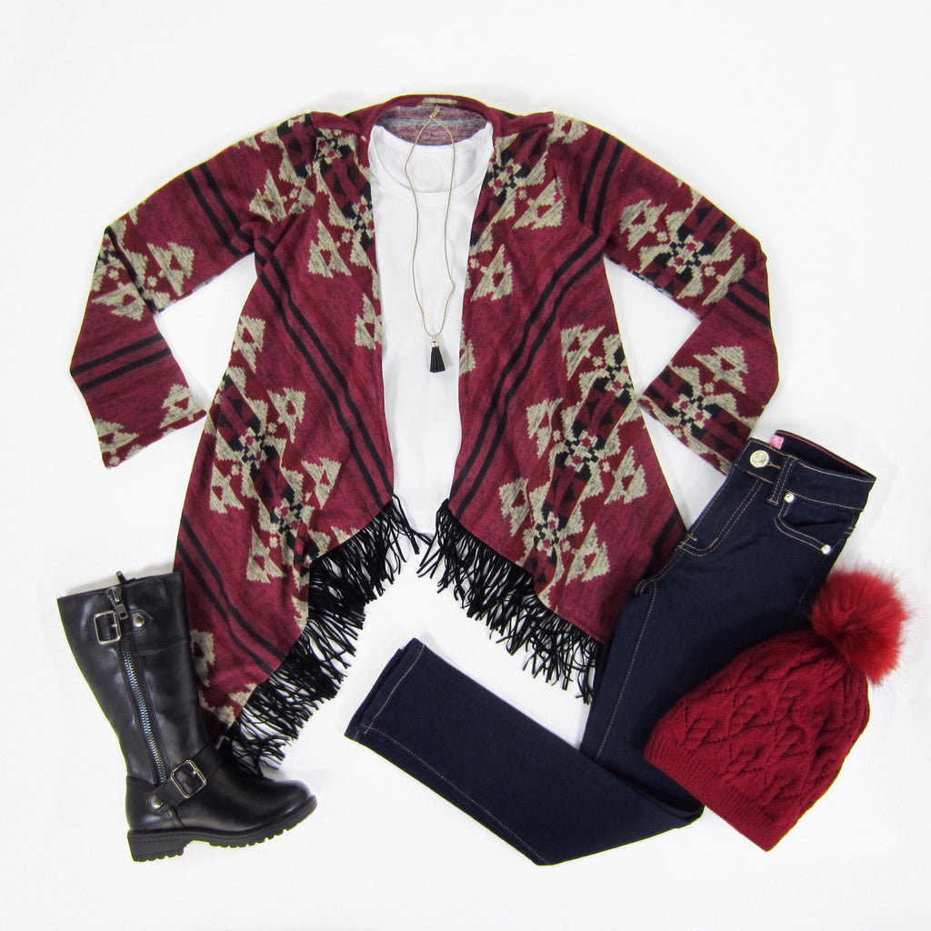 Burgundy Fringe Trim Cardigan