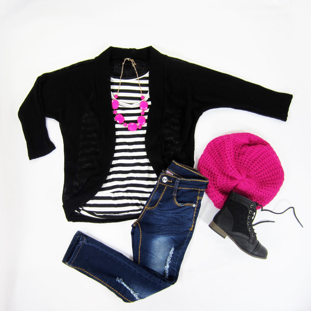 Girls Black Cocoon Cardigan
