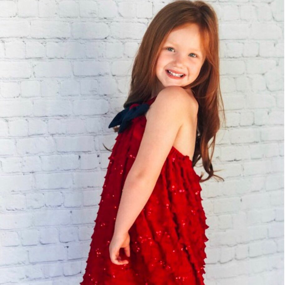 Girls Red Ruffle Tier Dress