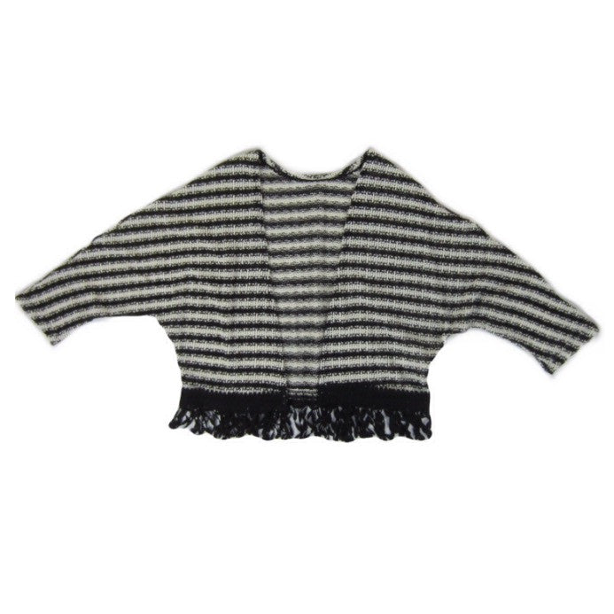 Girls Striped Fringe Trim Cardigan