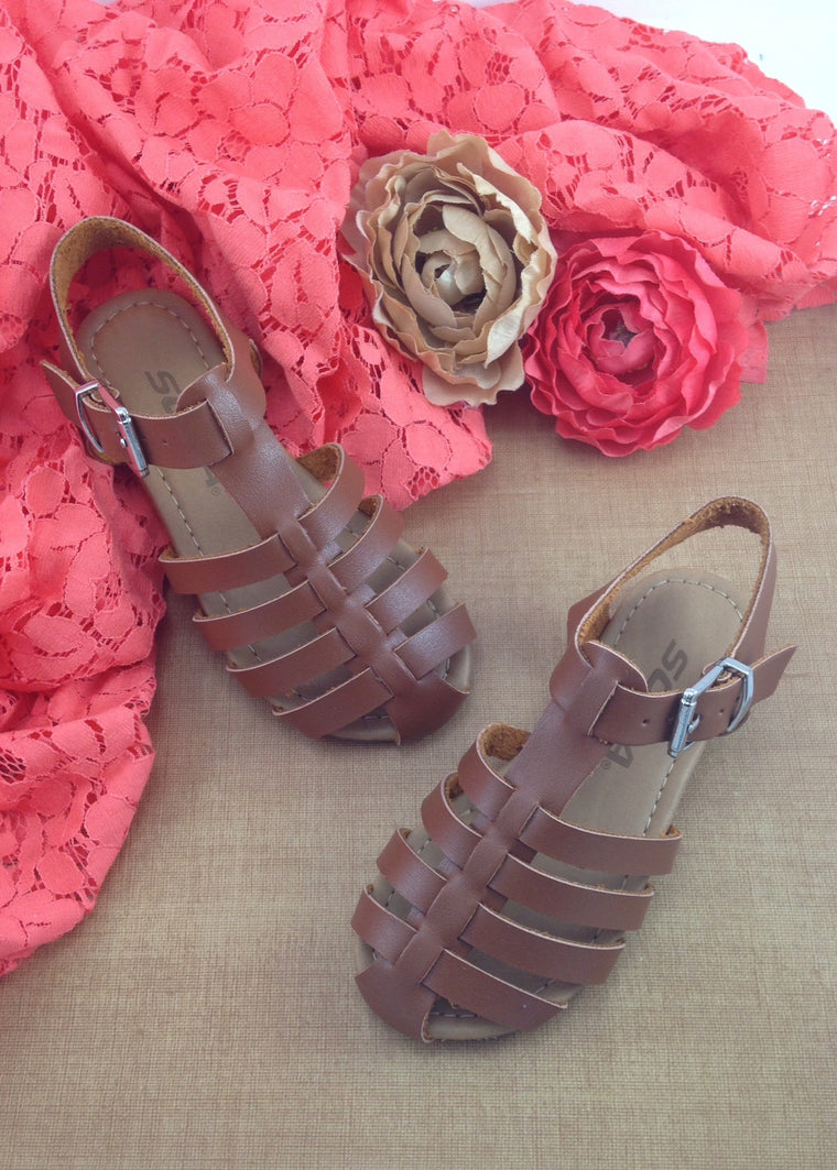 Girls Tan Woven Sandals