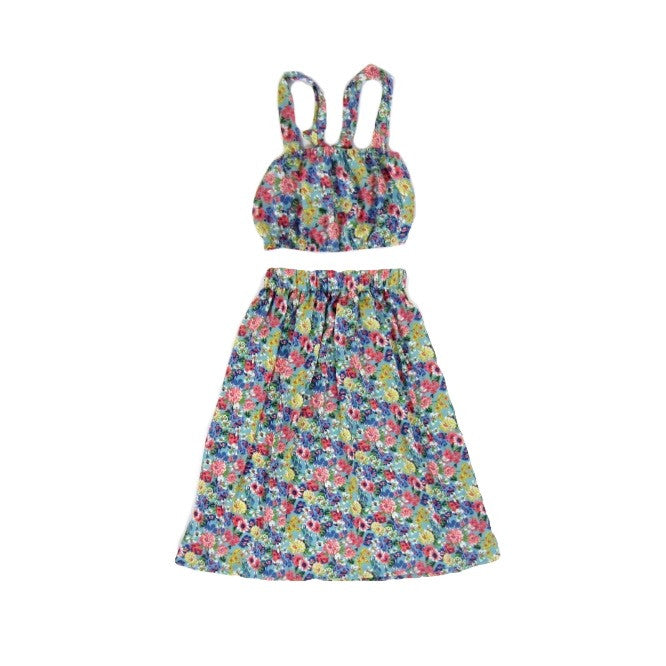 Girls Blossom Crop Top and Skirt Set