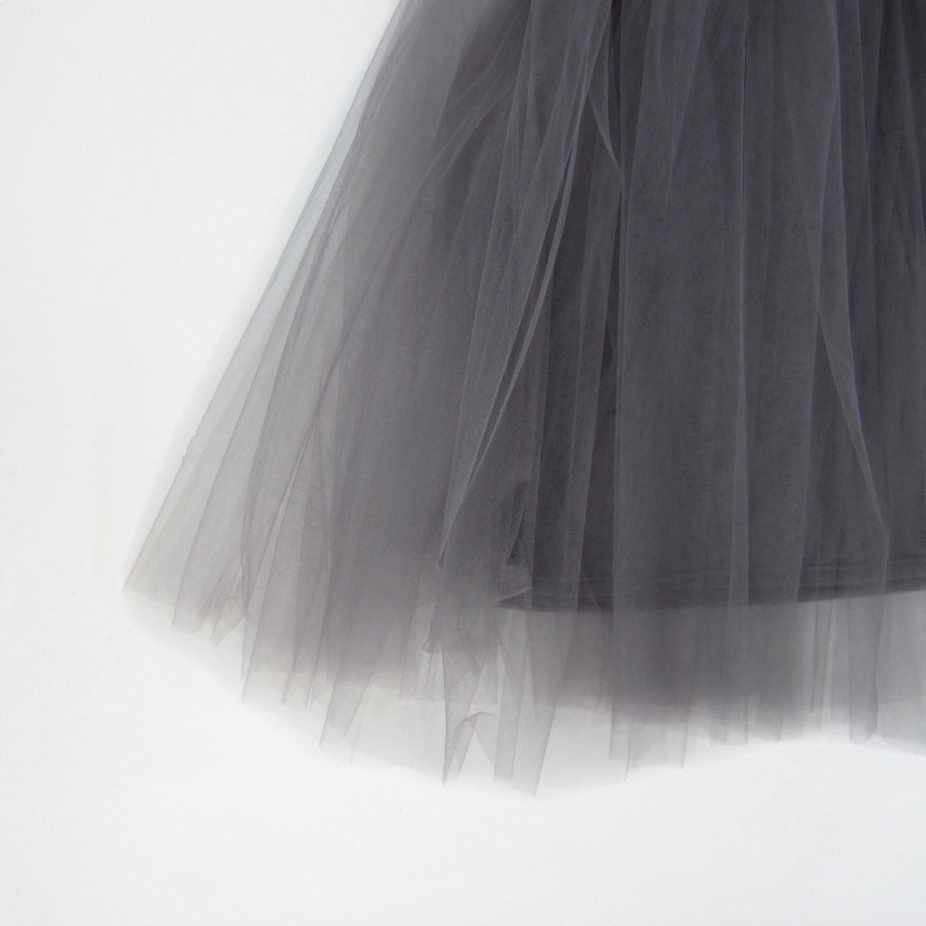 Girls Gray Tulle Midi Skirt